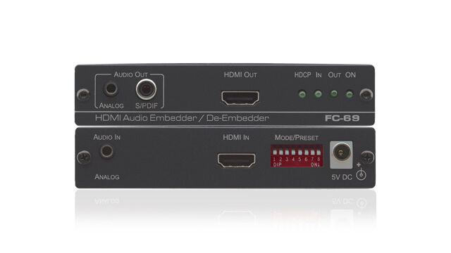 Embeds and de-embeds audio to/from digital video (HDMI & SDI) signals