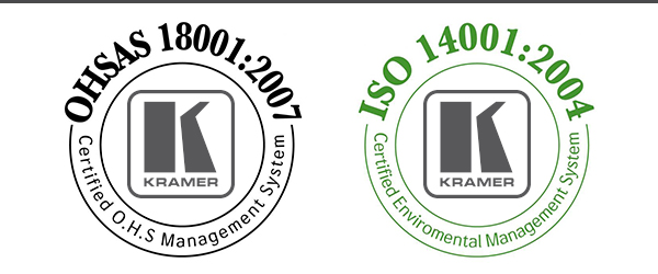 Kramer Awarded ISO−14001:2004 and OHSAS−18001:2007
