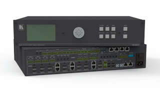 High-performance products for selecting and sending computer, video, and audio signals to single (switcher) or multiple destinations (matrix switcher or router)
