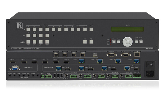 Video presentation scalers and switchers with multiple analog and digital inputs, scaled up or down to a single analog and/or digital output displayformat