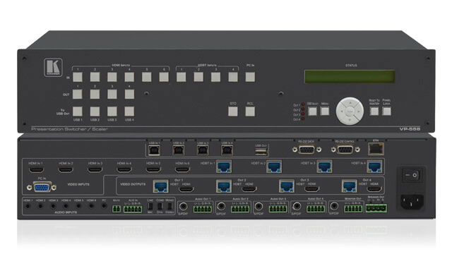 Video presentation scalers with multiple analog and/or digital outputs, scaled up or down to a single analog and/or digital output format
