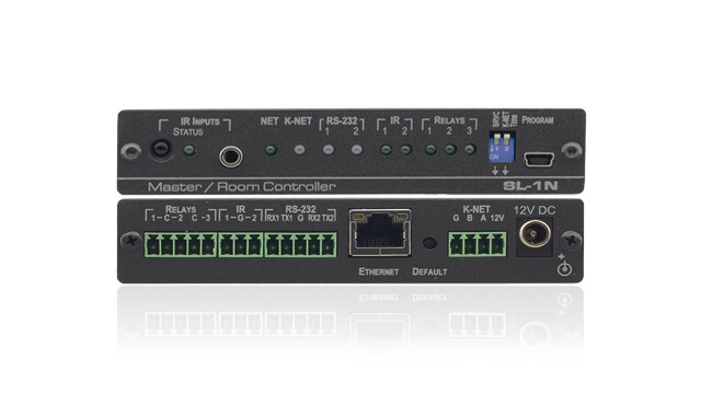 Wall Plates or Master Controllers enable control of A/V components and other room facilities, such as lights and screens