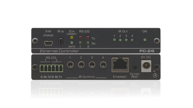 Bi-directional conversion of RS-232, RS-485 and IR signals to Ethernet enable controlling A/V units over a network