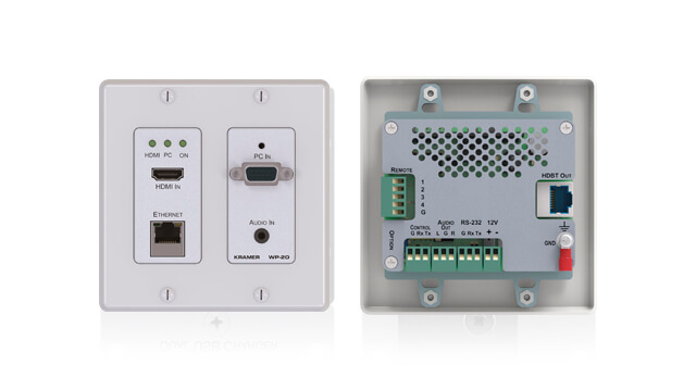 Media switching and room control integrated wall-plates